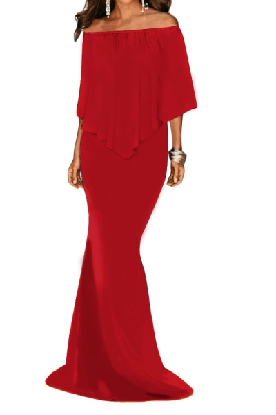 Red Off Shoulder Overlay Ruffle Evening Dress