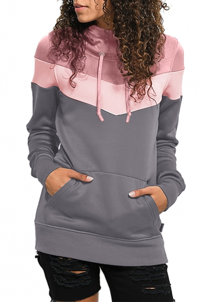Mauve Hooded Gray Colorblock Sweatshirt