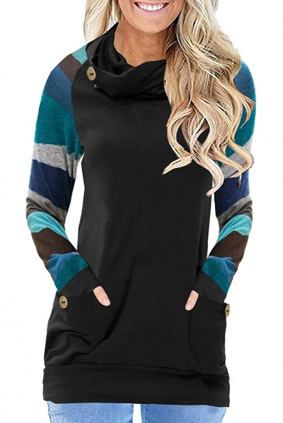 Multicolor Striped Raglan Sleeve Black Cowl Neck Sweatshirt