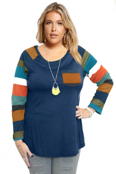 Autumn Chill Top With Front Pocket & Striped Contrast Sleeves In Blue