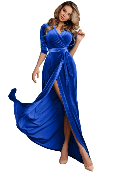 Blue Surplice V Neck Velvet Party Gown with Belt