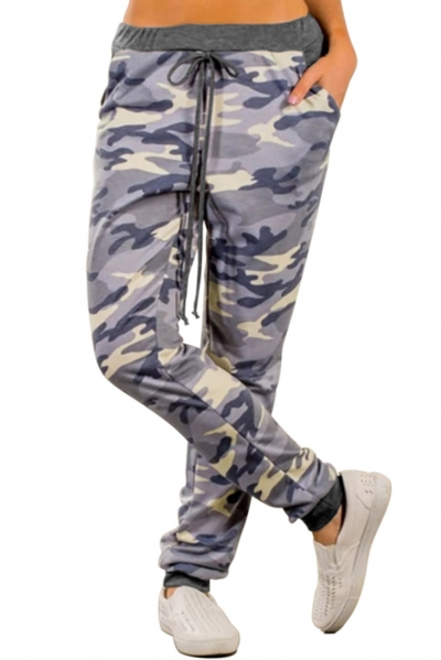 Blue Under The Radar Pocketed Camo Joggers