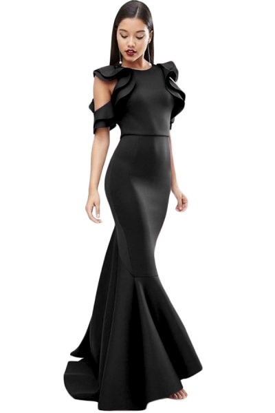 Black Celeb Style Scuba Ruffle Extreme Fishtail Maxi Dress
