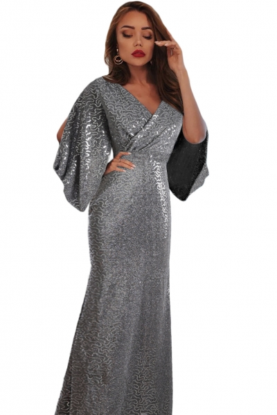 Gray Sequin Butterfly Sleeve Floor Length Party Gown