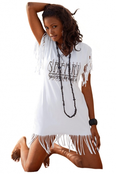 Sexy Printed Fringed Short Sleeve Beach Dress