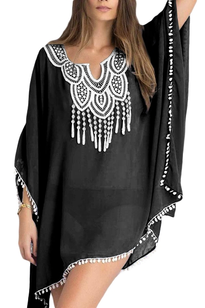 Black Chiffon Tunic with Embroidery