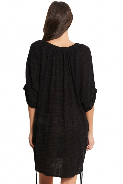 Black Beach Basics Textured Gauze Cover up zekela.com
